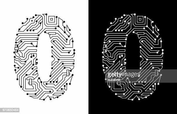 Number 0 in Black And White Circuit Board Font