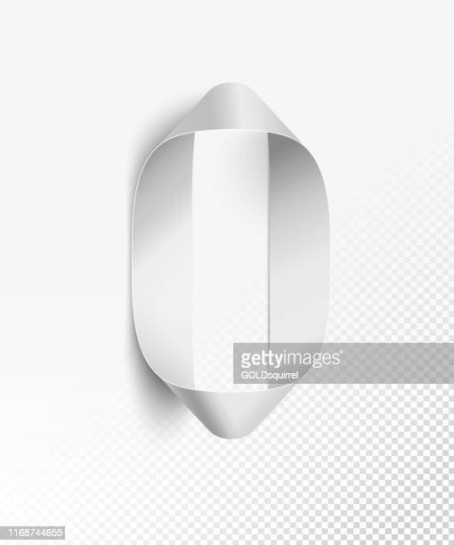 number 0 in vector - a narrow strip of paper in black and white color curved into a round shape - 3d realistic design element isolated on background with light and soft shadows - finance and economy stock illustrations, clip art, cartoons, & icons