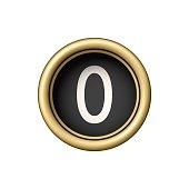 Number 0. Vintage golden typewriter button