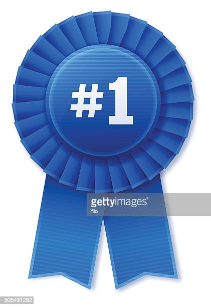 number 1 blue ribbon - number 1 stock illustrations, clip art, cartoons, & icons
