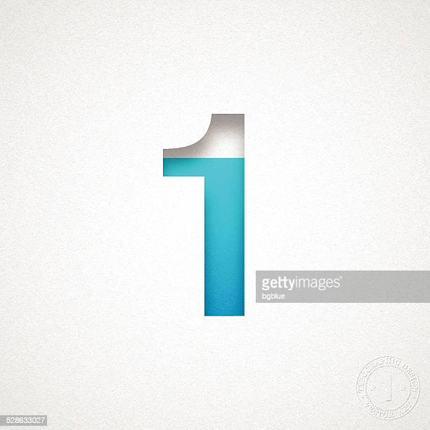 Number 1 Design (One) - Blue Number on Watercolor Paper