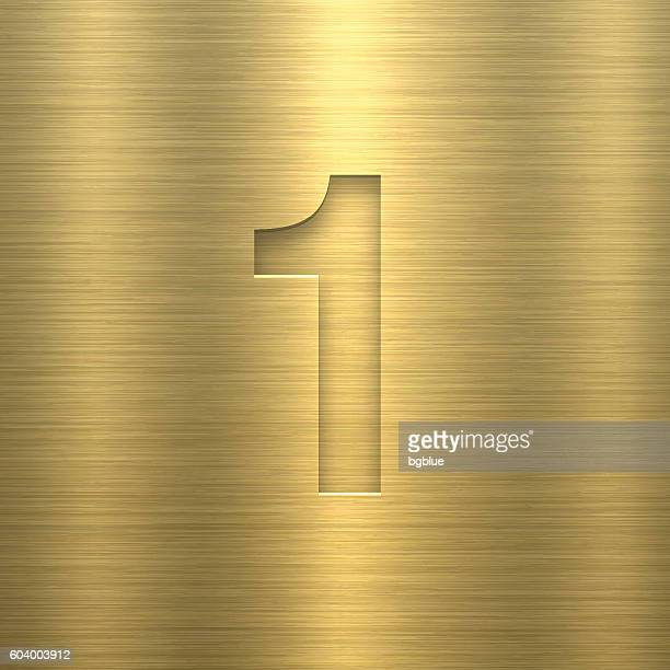 Number 1 Design (One). Number on Gold Metal Texture