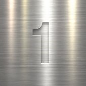 Number 1 Design (One). Number on Metal Texture Background