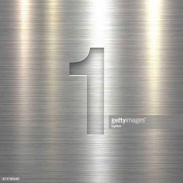 number 1 design (one). number on metal texture background - number 1 stock illustrations, clip art, cartoons, & icons