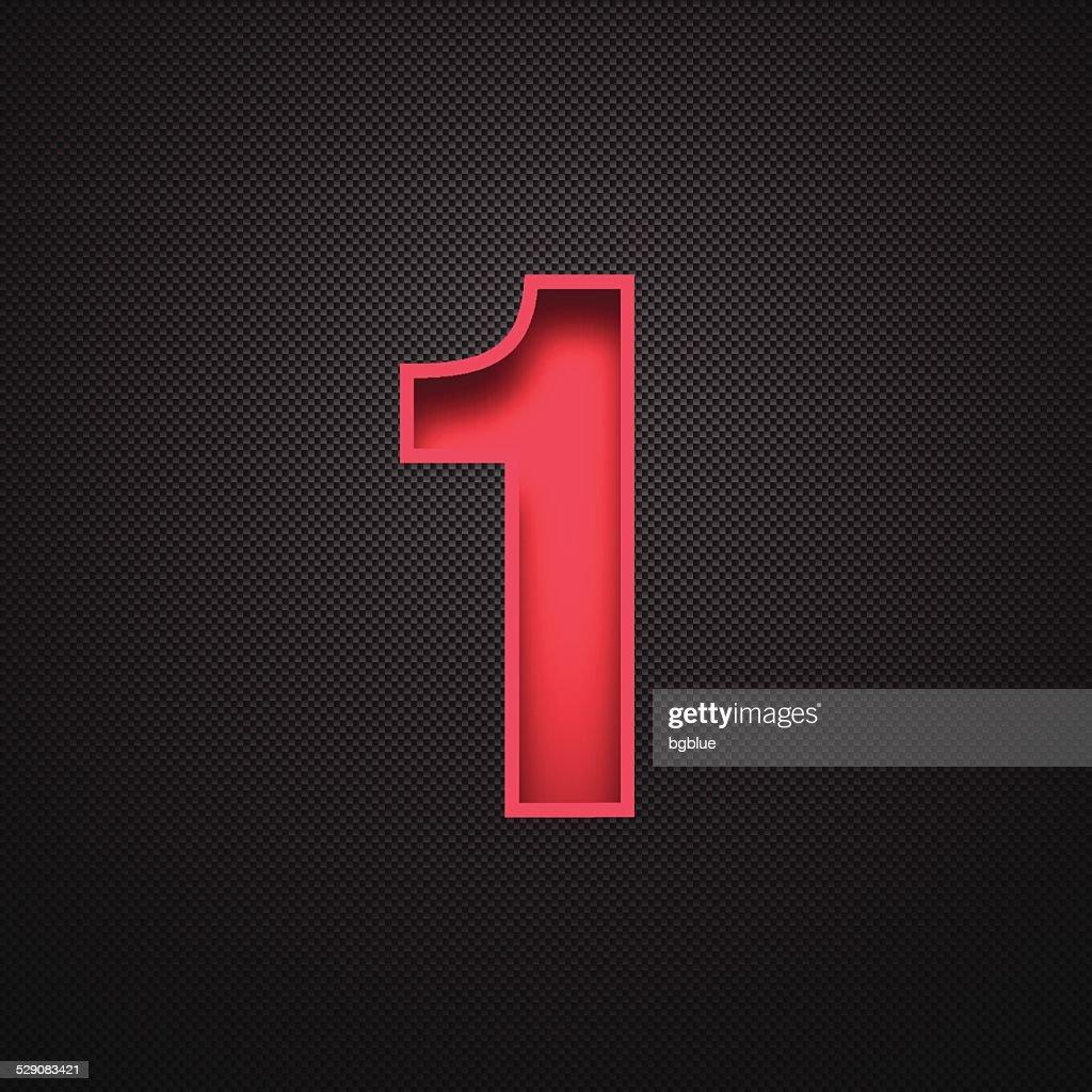 Number 1 Design (One). Red Number on Carbon Fiber Background : stock illustration