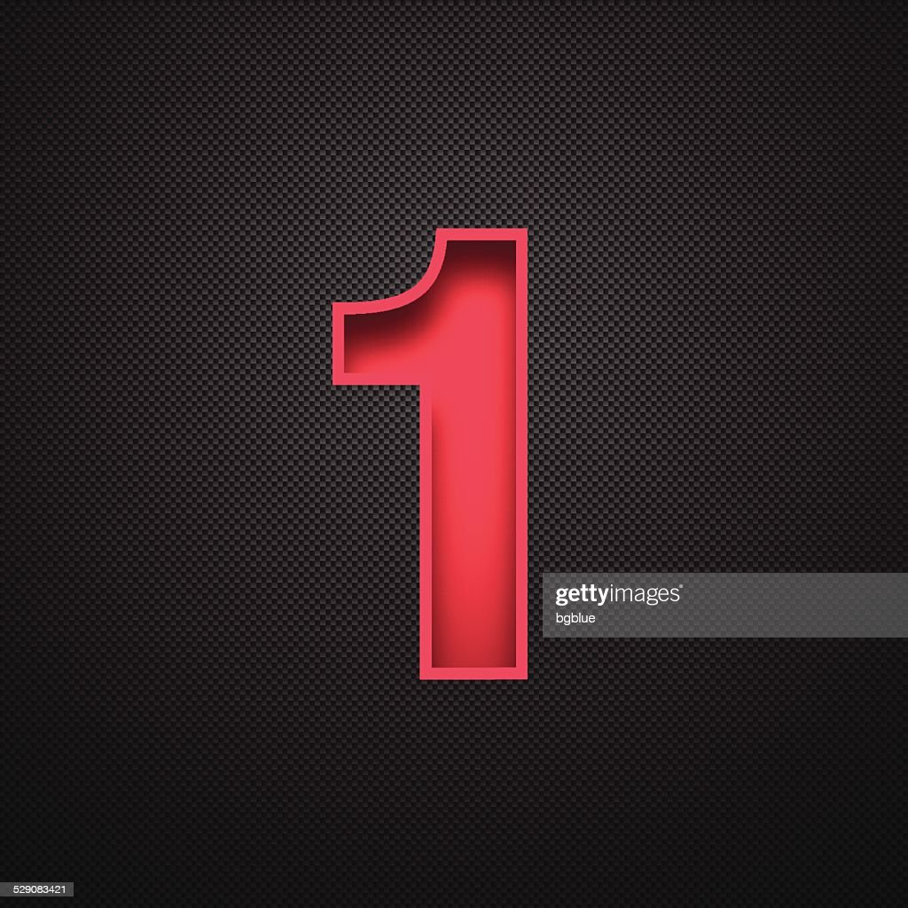 Number 1 Design (One). Red Number on Carbon Fiber Background