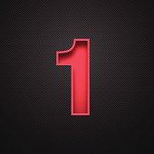 Number 1 Design (One). Red Number on Carbon Fiber Background