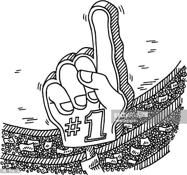 number 1 fan hand stadium crowd drawing - fan enthusiast stock illustrations, clip art, cartoons, & icons
