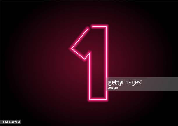 number 1 red neon light on black wall - financial figures stock illustrations