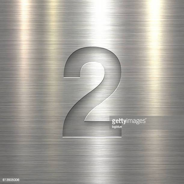 number 2 design (two). number on metal texture background - number 2 stock illustrations