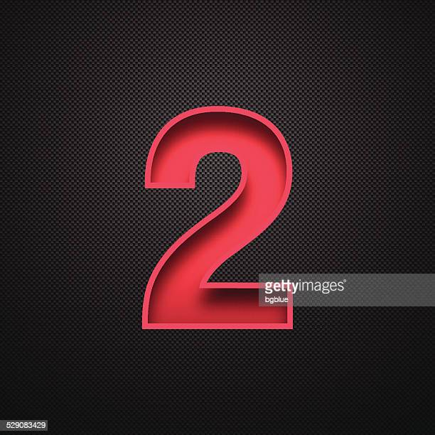 Number 2 Design (Two). Red Number on Carbon Fiber Background