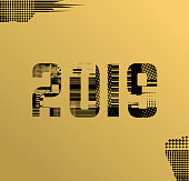 Number 2019 with glitch effect texture. 2019 vector for your new year designs. Broken, halftone, grunge.