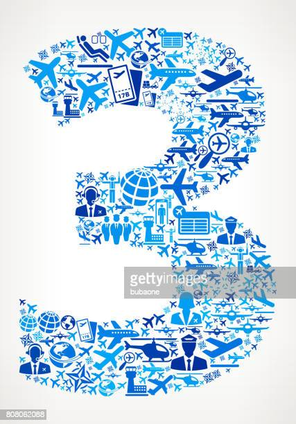 Number 3 Aviation and Air Planes Vector Graphic