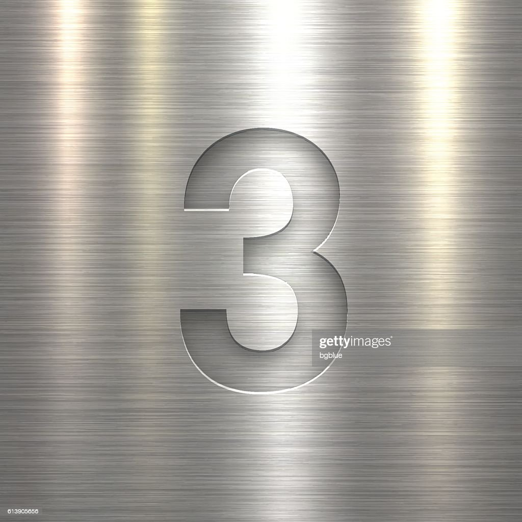 Number 3 Design (Three). Number on Metal Texture Background