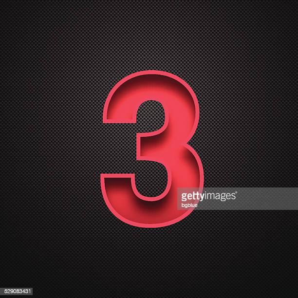 number 3 設計(3 )。赤番号を炭素繊維の背景 - 数字の3点のイラスト素材/クリップアート素材/マンガ素材/アイコン素材
