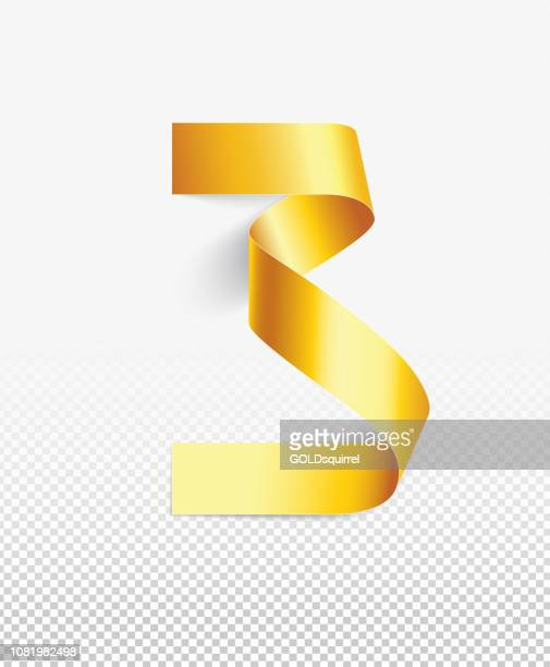 number 3 in vector - a narrow strip of paper painted gold bent into a round shape - luxury 3d realistic design element isolated on white background with light and soft shadows - number 3 stock illustrations