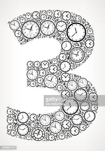 Number 3 on Time and Clock Vector Icon Pattern