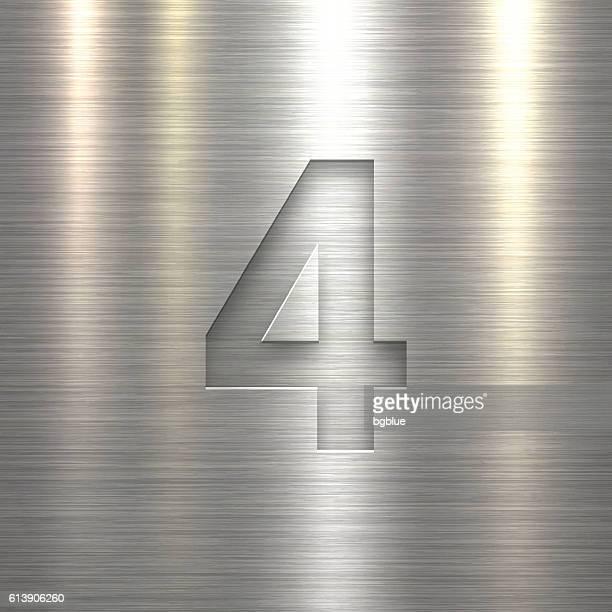 Number 4 Design (Four). Number on Metal Texture Background