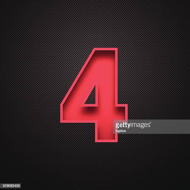 Number 4 Design (Four). Red Number on Carbon Fiber Background