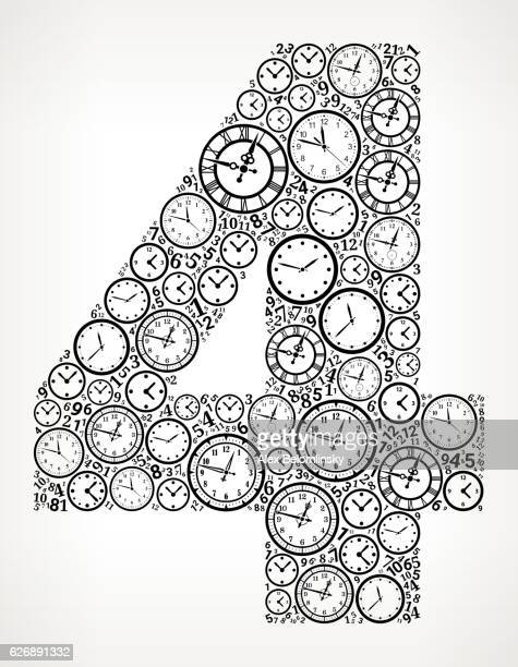 Number 4 on Time and Clock Vector Icon Pattern