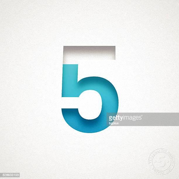 nummer 5 (fünf) design-blue-mitgliedsnummer auf aquarell papier - zahl 5 stock-grafiken, -clipart, -cartoons und -symbole