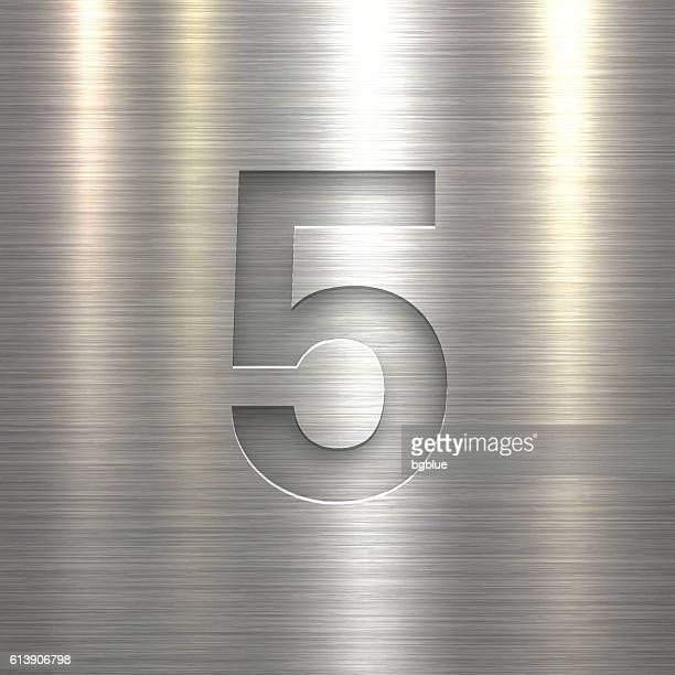 Number 5 Design (Five). Number on Metal Texture Background