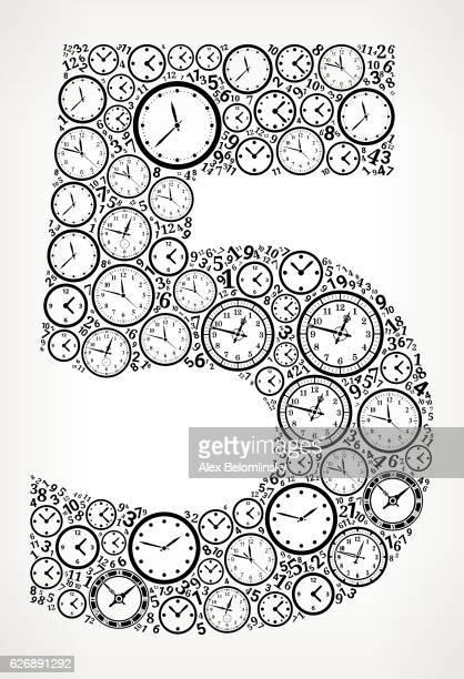 ilustrações, clipart, desenhos animados e ícones de number 5 on time and clock vector icon pattern - ponteiro grande