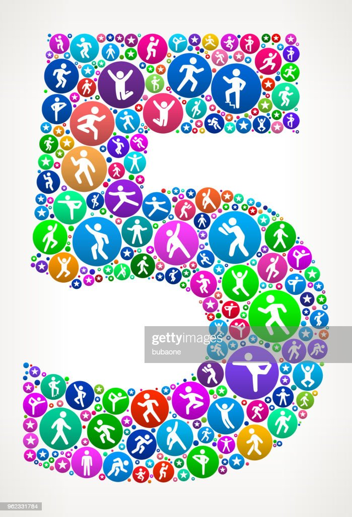 Number 5 People Motion Fitness Icon Background