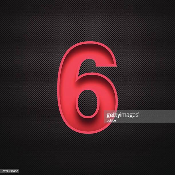 ilustrações, clipart, desenhos animados e ícones de número 6 design (six). red número de fundo de fibra de carbono - número 6