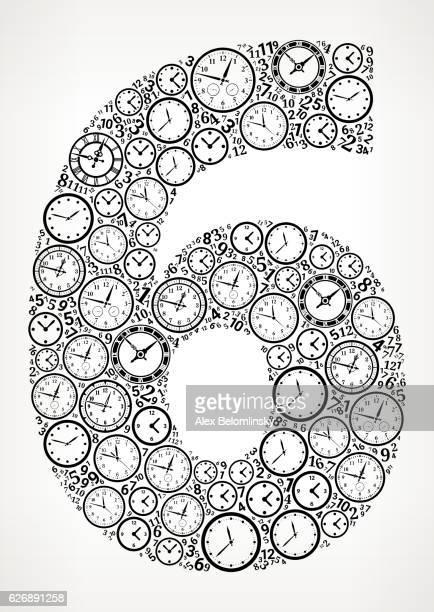 ilustrações, clipart, desenhos animados e ícones de number 6 on time and clock vector icon pattern - ponteiro grande