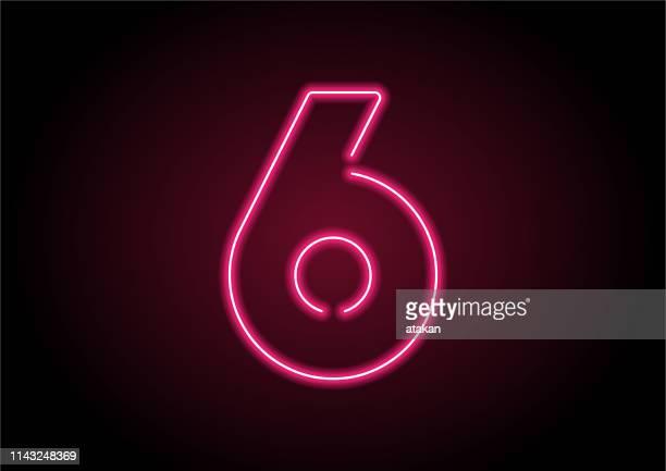 ilustrações, clipart, desenhos animados e ícones de número 6 luz de néon vermelha na parede preta - número 6