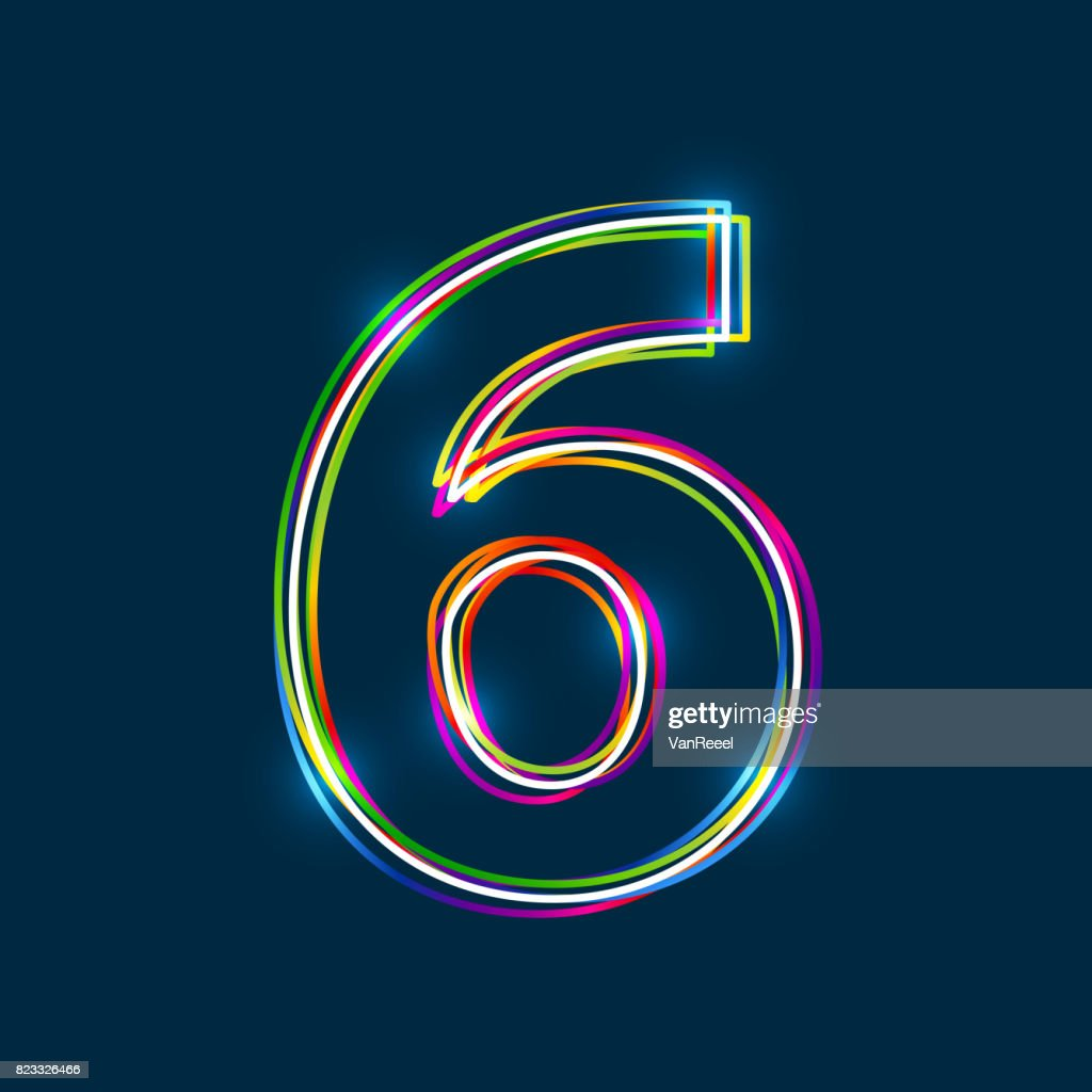 Number 6 - Vector multicolored outline font with glowing effect isolated on blue background.
