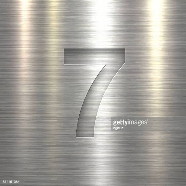 stockillustraties, clipart, cartoons en iconen met number 7 design (seven). number on metal texture background - hoofdletter