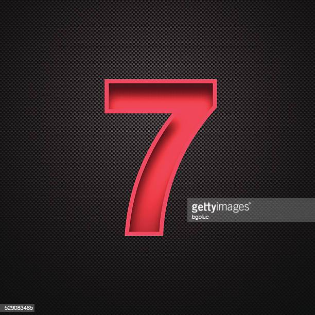 Number 7 Design (Seven). Red Number on Carbon Fiber Background