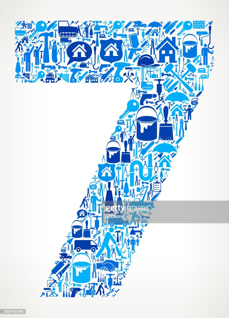Number 7 Home Renovation Repair Vector Icon Pattern