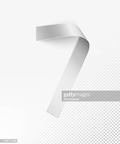 ilustrações de stock, clip art, desenhos animados e ícones de number 7 in vector - a narrow strip of white paper bent into  round shape - 3d realistic object isolated on background with light and shadows - shiny cut out extravagance design element - finanças e economia