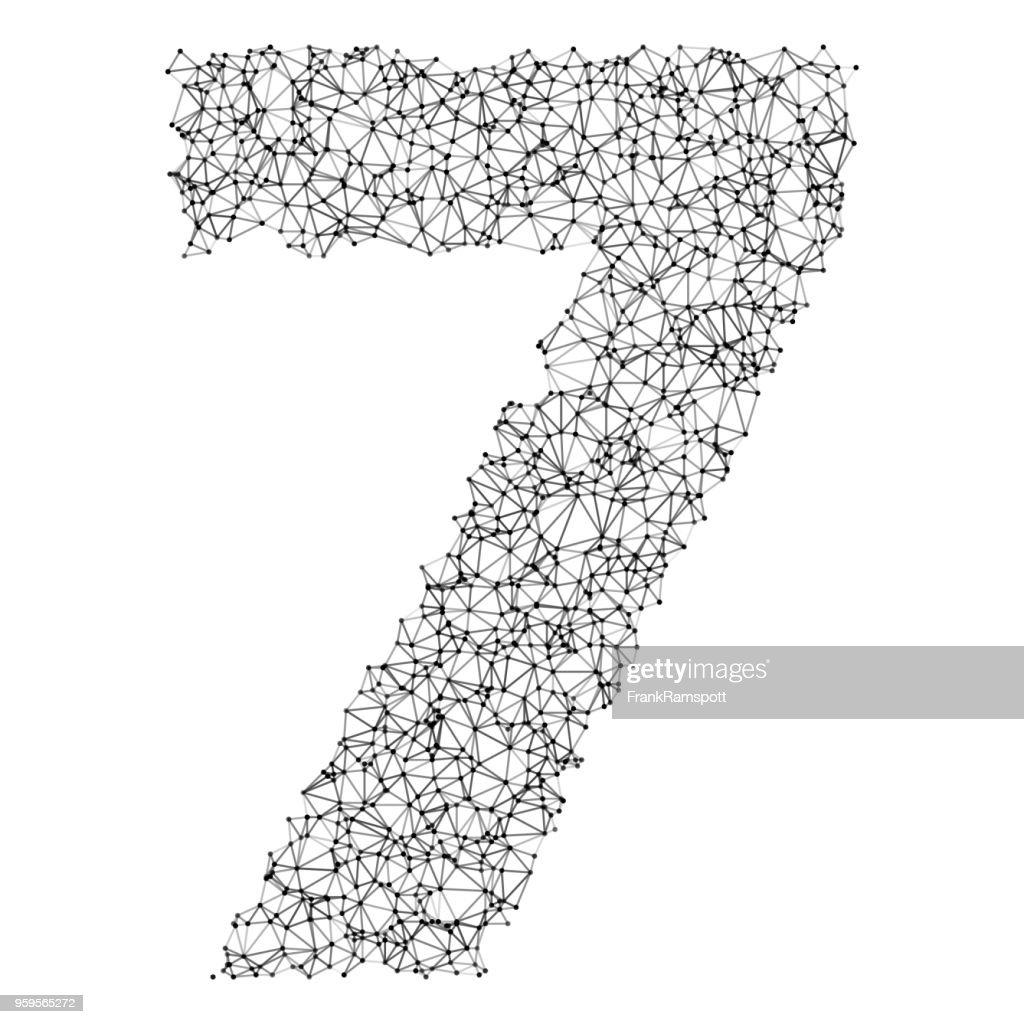 Nummer 7 Netzwerk schwarz / weiß : Stock-Illustration