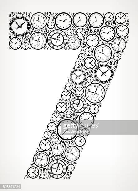 Number 7 on Time and Clock Vector Icon Pattern