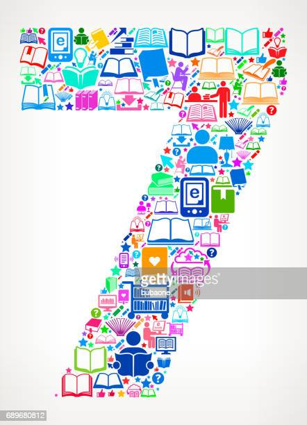 Number 7 Reading Books and Education Vector Icons Background