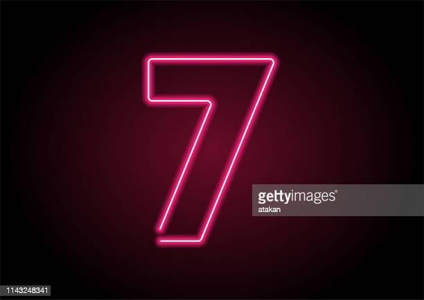 黒壁の番号7赤ネオンライト - 数字の7点のイラスト素材/クリップアート素材/マンガ素材/アイコン素材