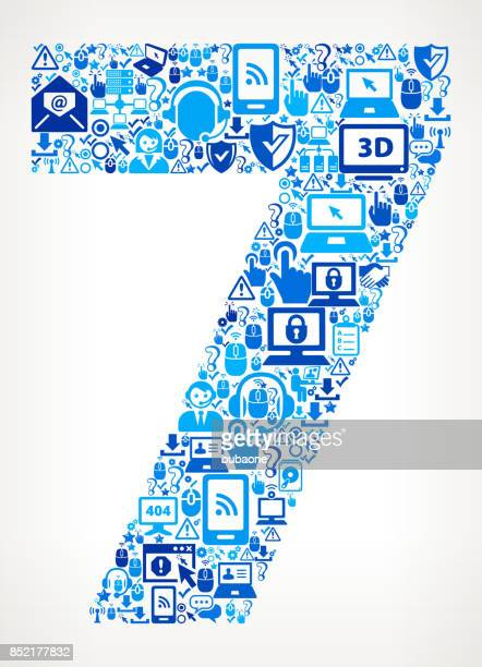 Number 7 Tech Support Vector Icon Pattern