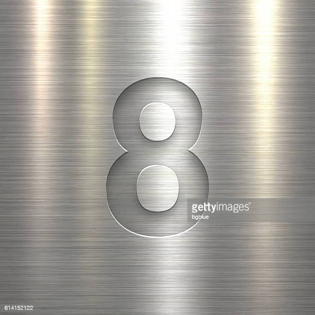Number 8 Design (Eight). Number on Metal Texture Background