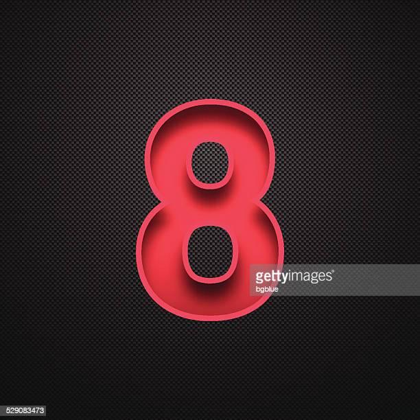number 8 design (eight). red number on carbon fiber background - number 8 stock illustrations