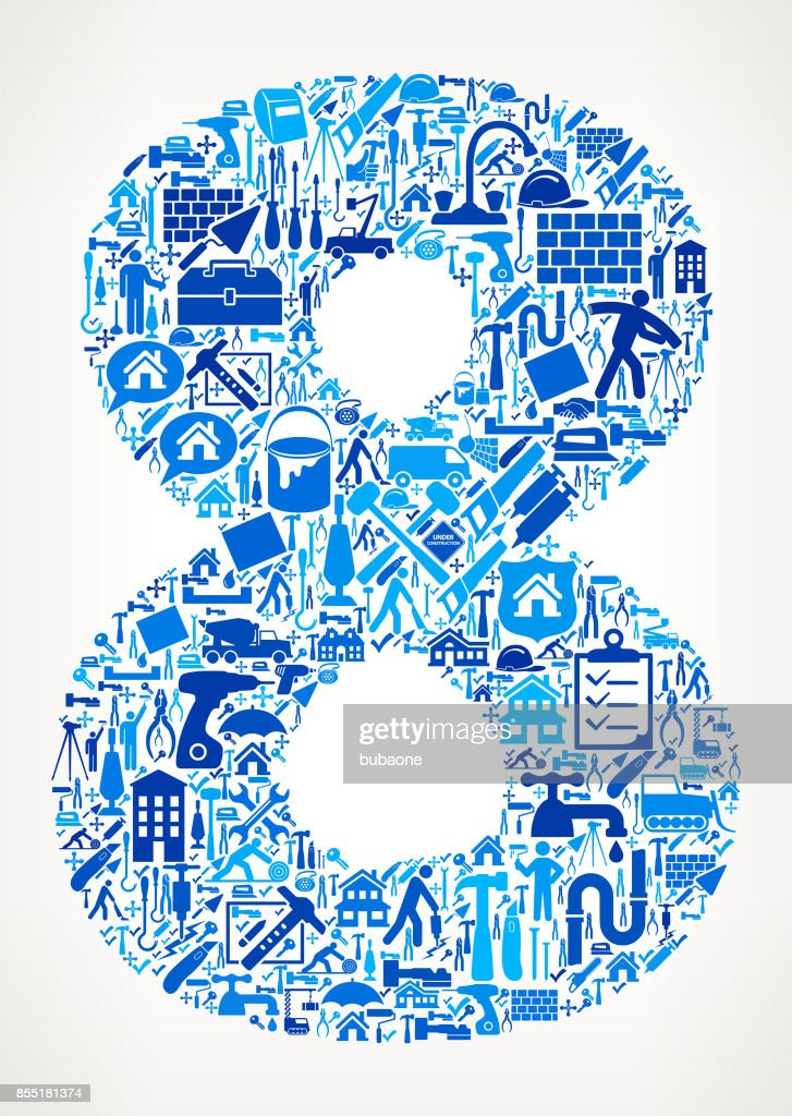 Number 8 Home Renovation Repair Vector Icon Pattern
