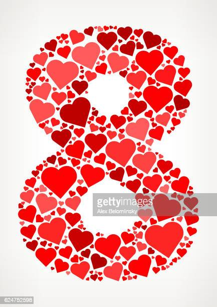 Number 8 Icon with Red Hearts Love Pattern