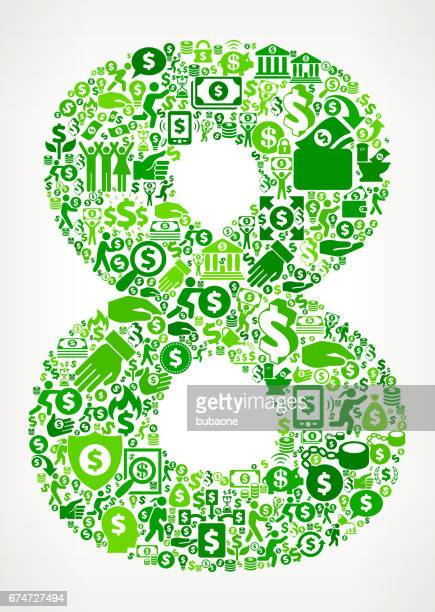 number 8 money and finance green vector icon background - flipping a coin stock illustrations, clip art, cartoons, & icons