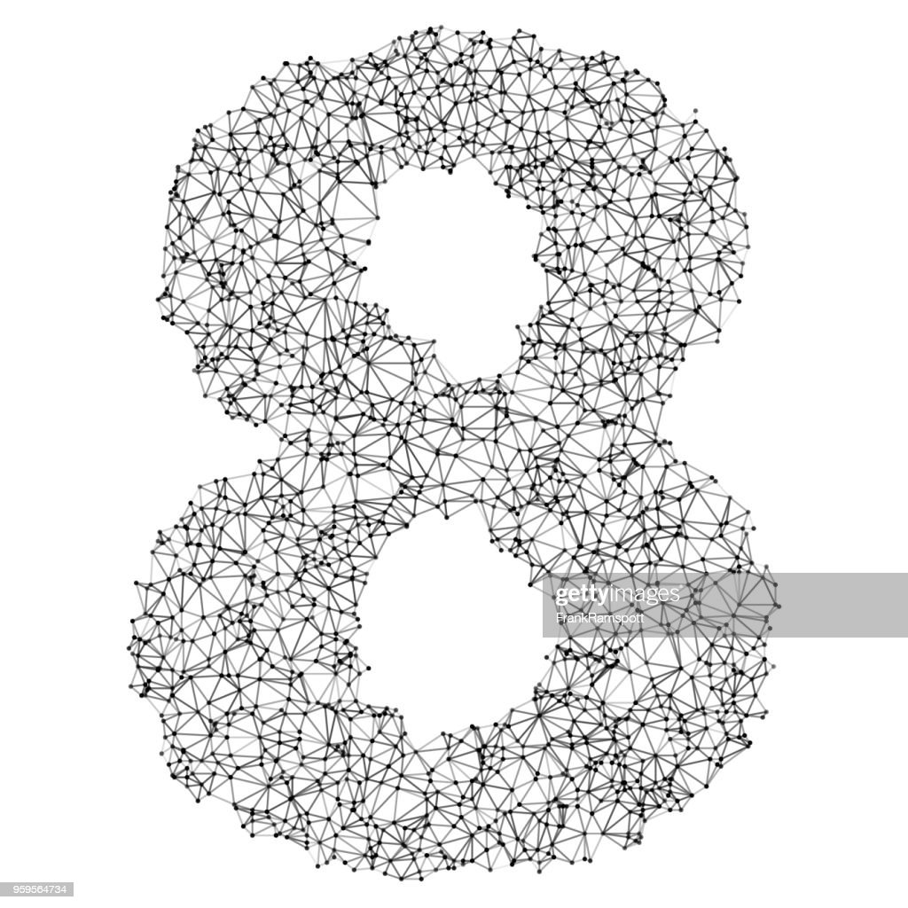 Number 8 Network Black And White : Stock Illustration