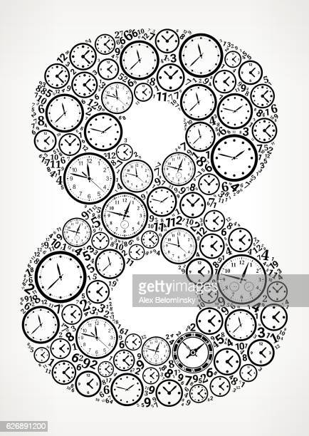 Number 8 on Time and Clock Vector Icon Pattern