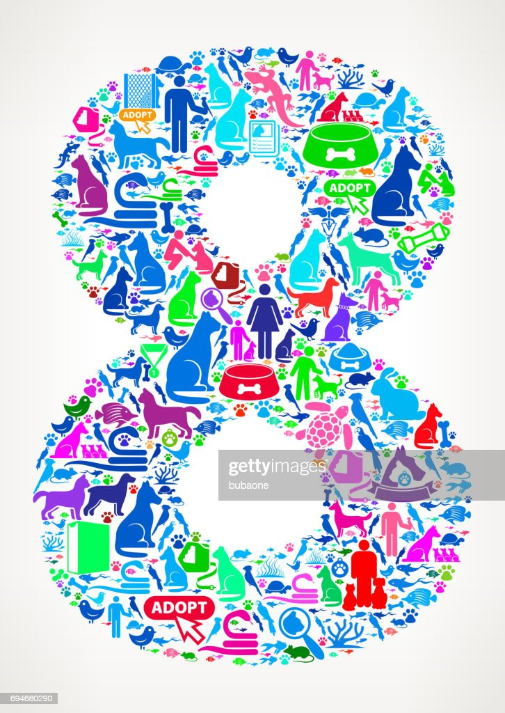 Number 8 Pets And Domestic Animals Vector Icons Background