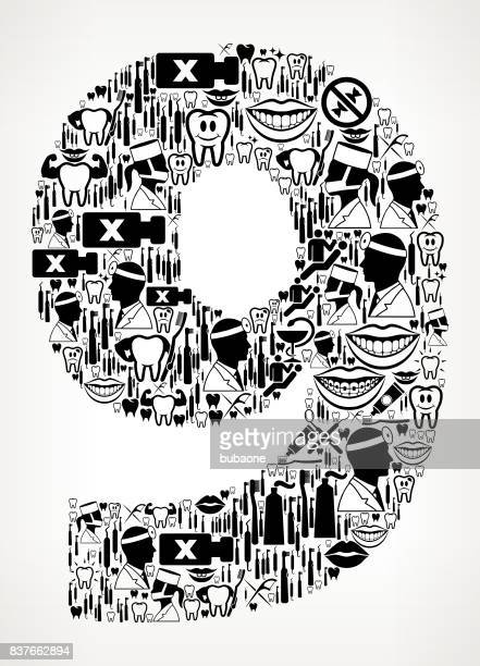 Nummer 9 Zahnarzt und Dental Vektormuster Symbol